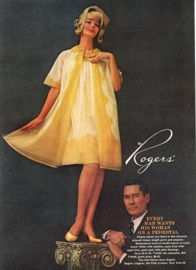 Vintage 1960 Rogers yellow Night Gown and Peignoir Lingerie AD