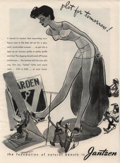 Vintage 1945 Jantzen Girl Gardening Art by Hurst AD