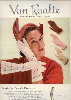 Vintage 1950 Van Raalte Gloves Art Print AD