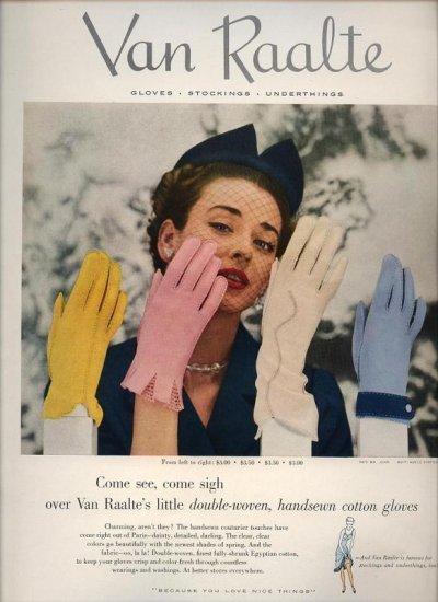 Vintage 1952 Van Raalte Gloves Art Print AD