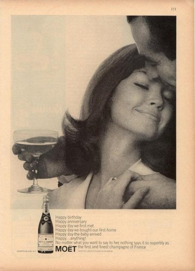 Vintage 1964 Woman & Man Moet & Chandon Champagne AD