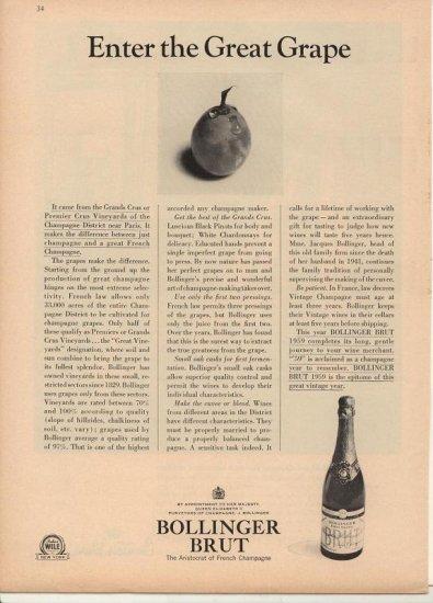 Vintage 1964 Bollinger Brut Champagne for 1959 AD