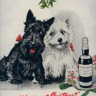 Vintage 1950 Black & White Whiskey Christmas Art M Dennis AD