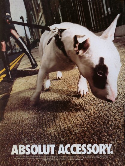 2001 Absolut Vodka Accessory Bull Terrier Dog AD