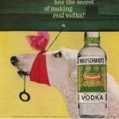 Vintage Advertising 1960 Wolfschmidt Vodka Borzoi Wolfhound Red Scraf AD