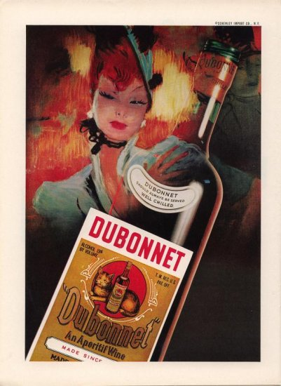 Vintage 1959 Red Hair Woman Dubonnet Wine AD