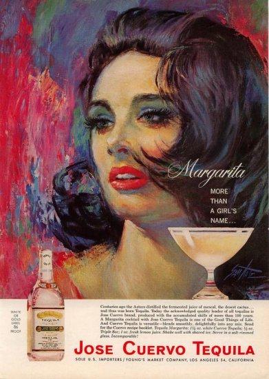Vintage 1964 Pretty Brunette Jose Cuervo Tequila Sam Katz AD