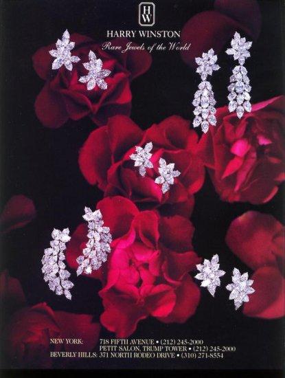 1993 Harry Winston Jewelers Diamond Jewels Red Roses AD
