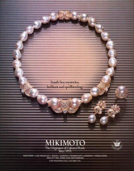 1984 Mikimoto Cultured Pearl Jewelry AD
