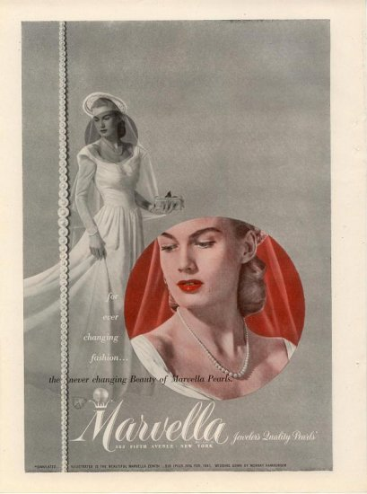 Vintage 1945 Marvella Zenith Jeweler's Quality Pearls AD