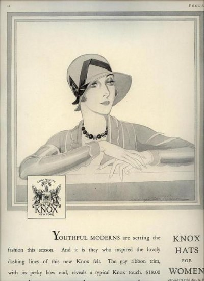 Vintage 1929 Knox Hats for Women Mary Mae Kinnon Art AD