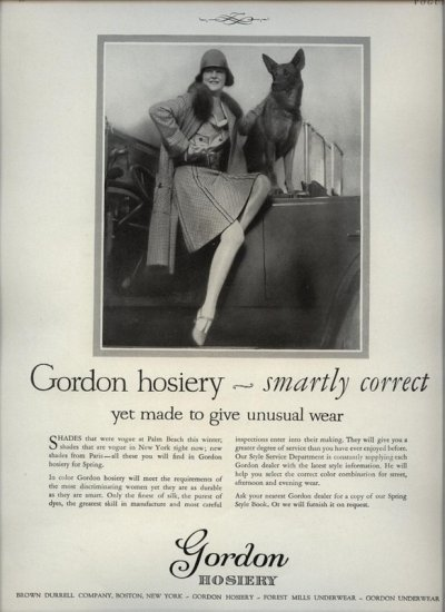 Vintage 1926 German Shepherd Dog Gordon Hosiery Real Photo AD