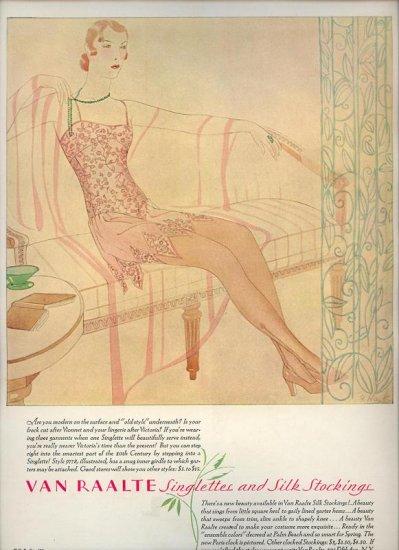 Vintage 1929 Van Raalte Silk Stocking Singlettes G Hart Art AD