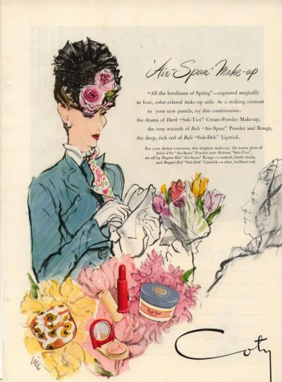 Vintage 1945 Coty Vibrant Paris Born Lip Color ART by Eric AD