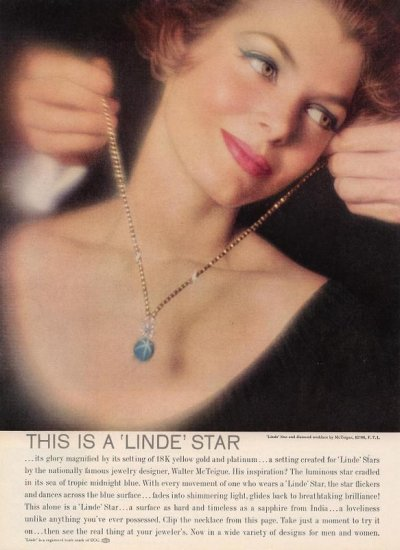 Vintage 1959 Linde Star & diamond necklace Walter McTeigue AD