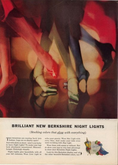 Vintage 1958 Berkshire Night Lights Stockings hoisery Hose AD