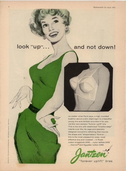 Vintage 1955 Jantzen bra Look up Not Down AD