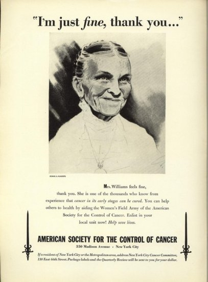 Vintage 1941 American Cancer Society Edwin Roberts Williams AD