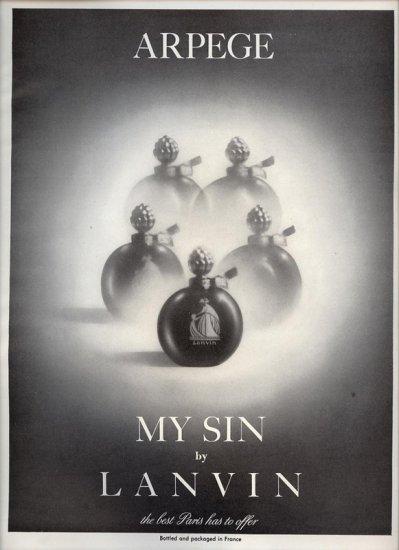 Vintage 1950 Arpege My Sin by Lanvin Paris Perfume AD
