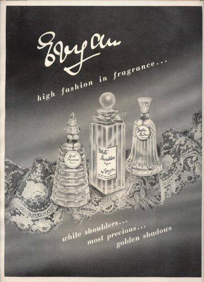 Vintage 1957 Evyan White Shoulders Most Precious Perfume AD