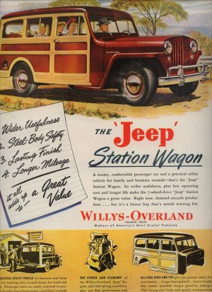 Vintage 1947 Red Jeep Station Wagon Car Unknown Artist AD