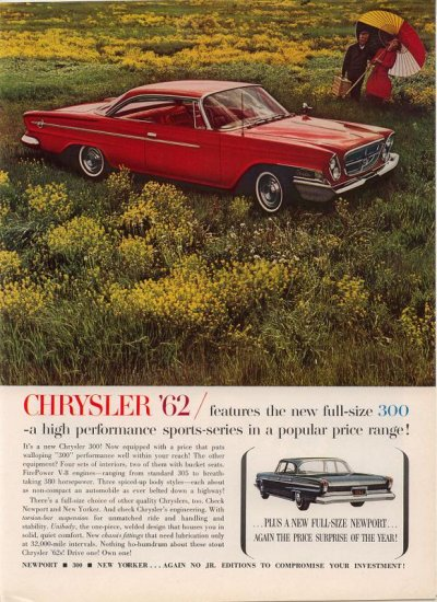 Vintage 1961 for the 1962 Red Chrysler 300 AD