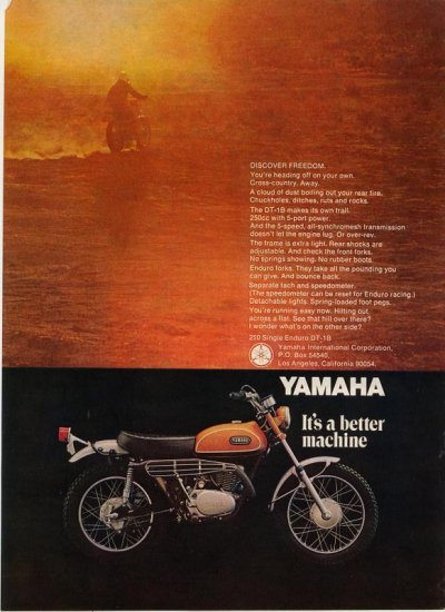 Vintage 1969 Yamaha 250 Single Enduro Motorcycle DT-1B AD