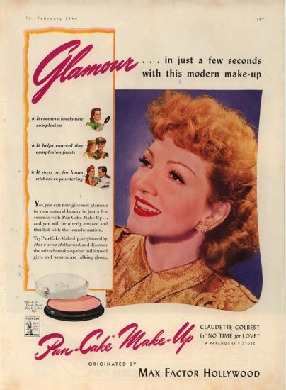 Vintage 1944 Max factor Claudette Colbert Make up Cosmetic AD