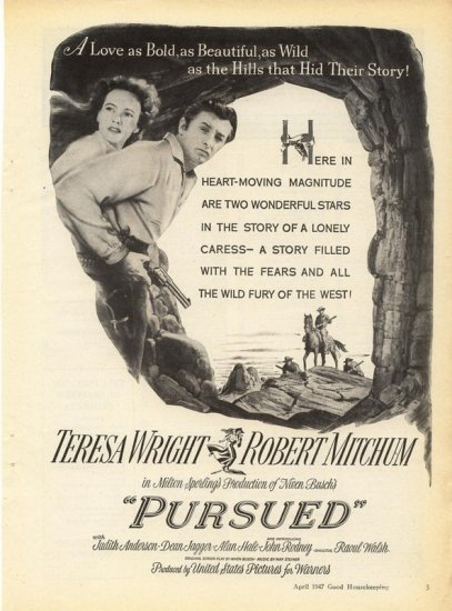 Vintage 1947 Robert Mitchum T Wright Pursued Movie Promo AD