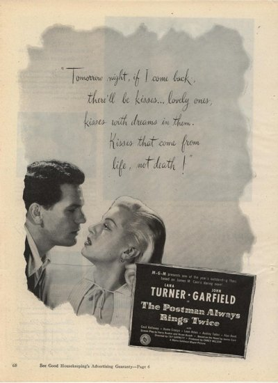 Vintage 1946 The Postman Always Rings Twice Movie Promo AD