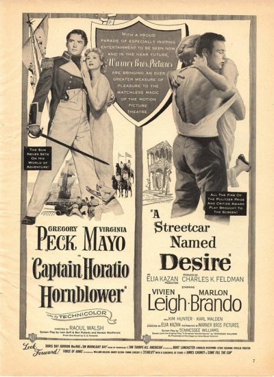 Vintage 1951 Streetcar named Desire Caption Horatio Hornblower Movie AD