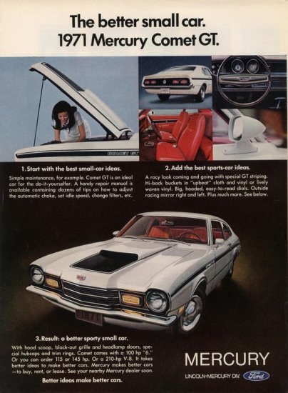 Vintage 1971 Ford Mercury Comet Sports Car 1970 AD