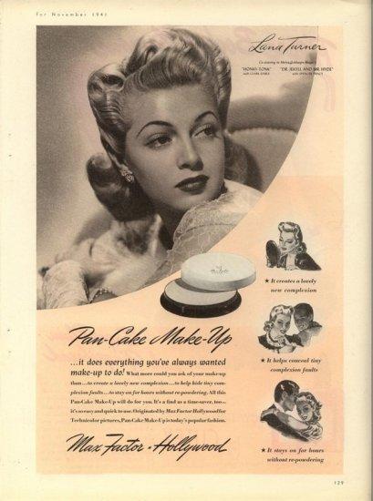 Vintage 1941 Lana Turner Max Factor Make up AD