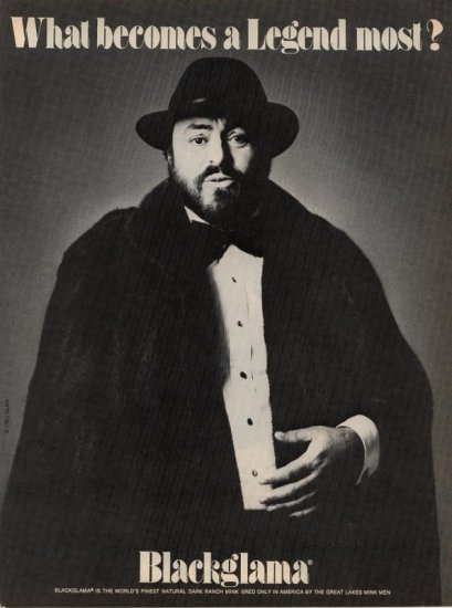 Advertising 1981 Blackglama Luciano Pavarotti Fur AD