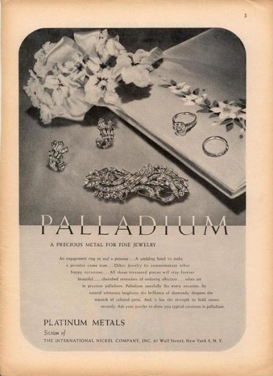 Vintage 1946 Palladium Precious Metals Int. Nickle Co Print AD