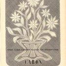Vintage 1956 Caron Perfume Print AD