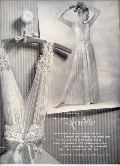 Vintage 1953 Faerie Slip Lingerie Nightgown AD