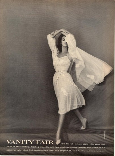 Vintage 1960 Vanity Fair Night Gown Richard Avedon Photo AD