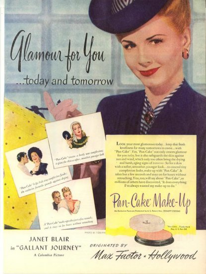 Vintage 1946 Janet Blair Max Factor hollywood Make up AD