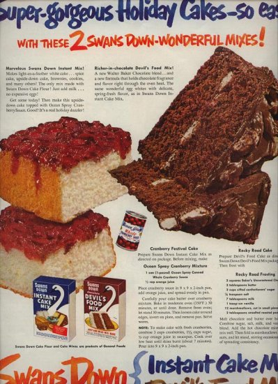 Vintage 1950 Swans Down Cake Mix Recipe Rocky Road Cake Recipe AD