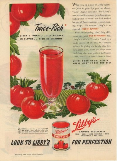 Vintage Advertising 1946 Libby's Tomato Juice AD