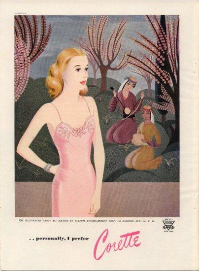 Vintage 1945 Corette Lingerie Pink Slip Art AD