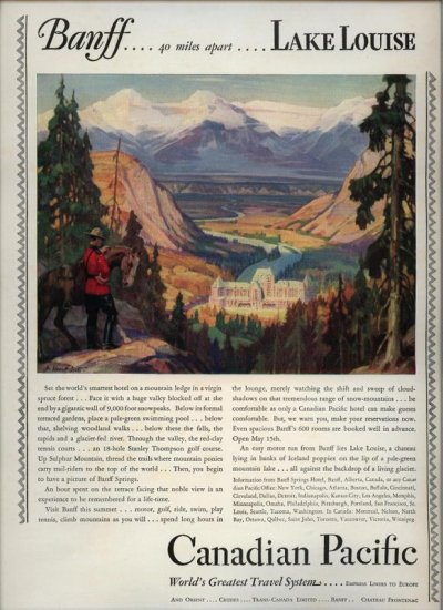 Vintage 1928 Banff Hotel new Golf Course Canadian Pacific Railroads AD