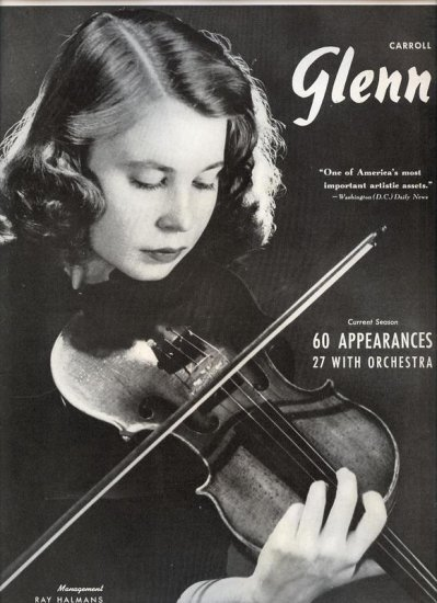 Vintage 1943 Carroll Glenn Opera Promo AD