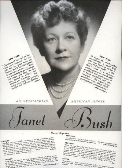 Vintage 1943 Janet Bush Opera Promo AD