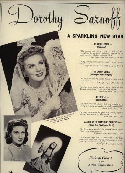 Vintage 1943 Dorothy Sarnoff Opera Promo AD