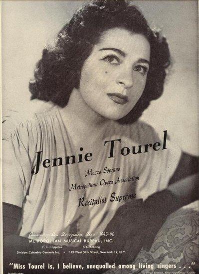 Vintage 1945 Jennie Tourel Mezza Soprano Opera Music  Promo AD