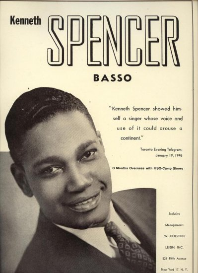 Vintage 1945 Kenneth Spencer  Basso Opera Music  Promo AD