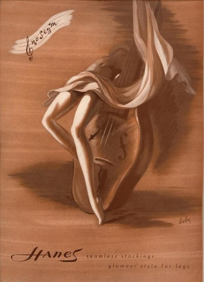 Vintage 1945 Hanes Hoseiry Bobri Art AD