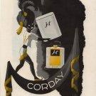 Vintage 1943 Corday Jet Perfume Borbri Art AD